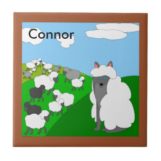wolf in sheep's clothing trivet small square tile