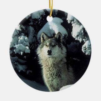 Wolf in snow ceramic ornament