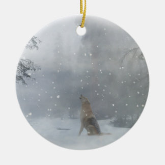 Wolf in snow Christmas Ornament