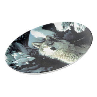 Wolf In The Snow Porcelain Serving Platter
