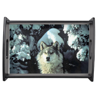 Wolf In The Snow Serving Tray