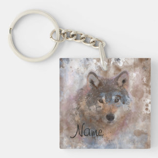 Wolf in watercolor key ring