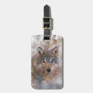 Wolf in watercolor luggage tag
