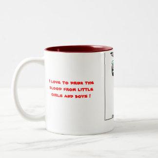 wolf like drinking blood Two-Tone coffee mug