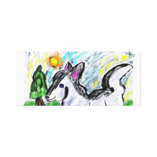 wolf love sun canvas print