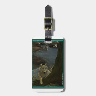 Wolf Luggage Tag; Gray Wolves on wolf name tag. Luggage Tag