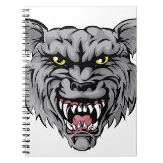 Wolf mascot character spiral notebooks