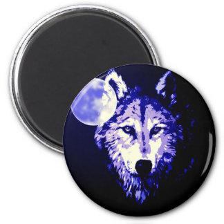 Wolf & Moon Dark Blue Night Collage 6 Cm Round Magnet