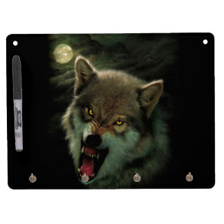 Wolf moon dry erase board with key ring holder
