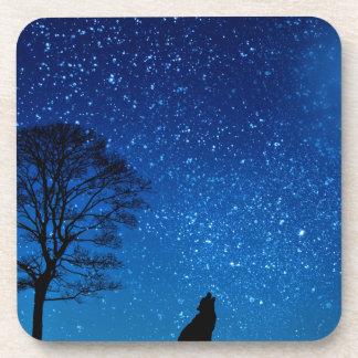 wolf moon stars drink coaster