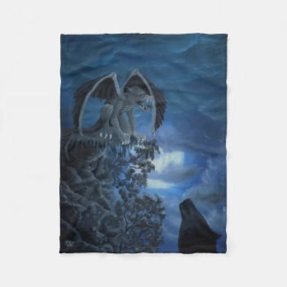 Wolf moon - Wolf with Golem Fleece Blanket