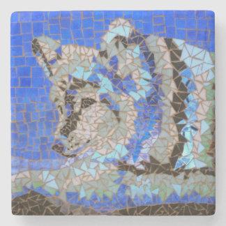Wolf Mosaic Stone Beverage Coaster