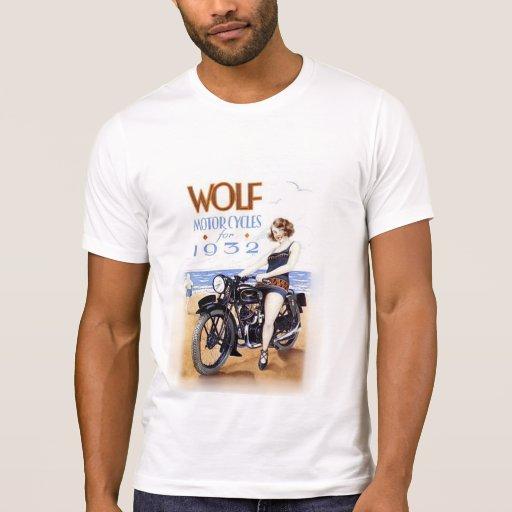 WOLF MOTORCYCLE VINTAGE ADVERTISING. SHIRT