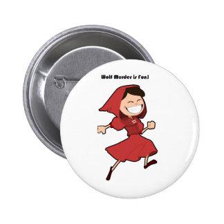 Wolf Murder Little Red Riding Hood Cartoon Pinback Button