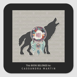 Wolf Native American Animal Spirit Book Square Sticker