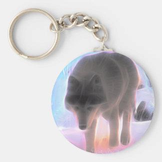 Wolf of the Winter Aurora Basic Round Button Key Ring