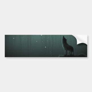 wolf on a hill car bumper sticker