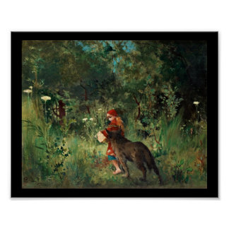 Wolf on Path with Red Poster