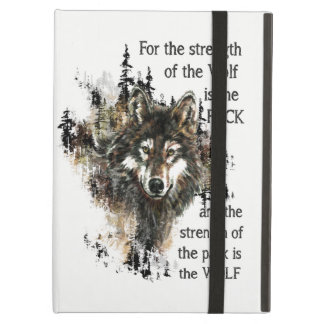 Wolf Pack Quote Wild Wolf Head Logo Case For iPad Air