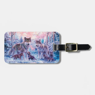 Wolf painting - arctic wolf - grey wolf luggage tag