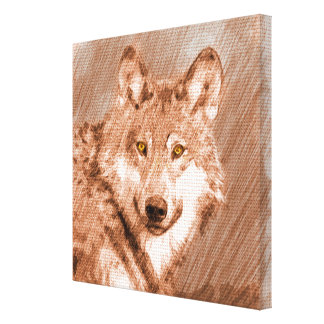 Wolf Pencil Sketch Image Art Stretched Canvas Print