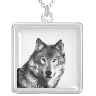 Wolf Pendant Necklace Black and White