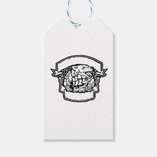 Wolf Pirate Ship Banner Retro Gift Tags