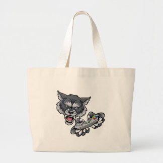 Wolf Player Gamer Mascot Large Tote Bag