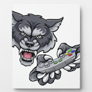 Wolf Player Gamer Mascot Plaque