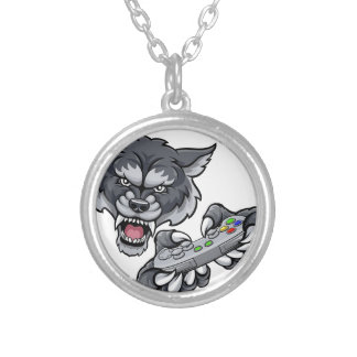 Wolf Player Gamer Mascot Silver Plated Necklace