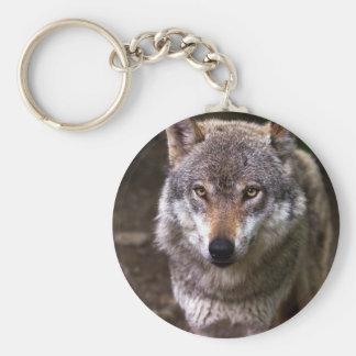 Wolf portrait basic round button key ring