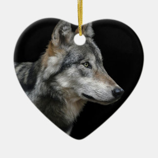 Wolf Portrait Black Background Predator Carnivore Ceramic Ornament