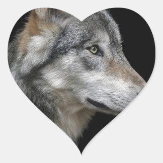 Wolf Portrait Black Background Predator Carnivore Heart Sticker