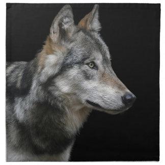 Wolf Portrait Black Background Predator Carnivore Napkin