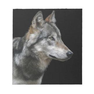 Wolf Portrait Black Background Predator Carnivore Notepad