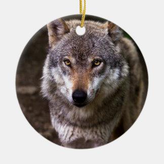 Wolf portrait ceramic ornament