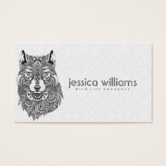 Wolf Portrait Detailed Abstract Illustration Business Card