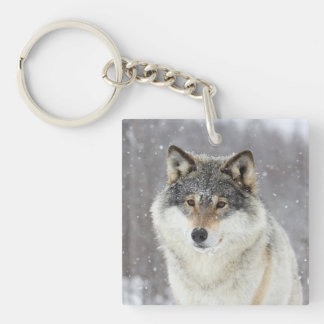 Wolf portrait Double-Sided square acrylic key ring