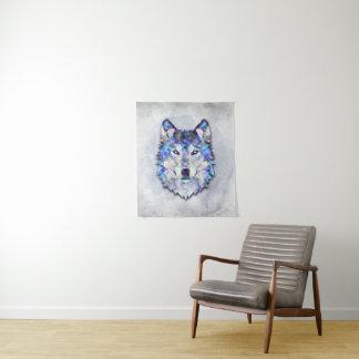 Wolf Portrait - Geometric Pattern Tapestry