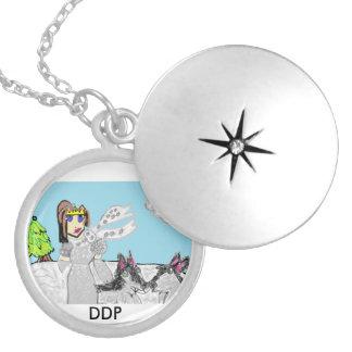 Wolf princess round locket necklace
