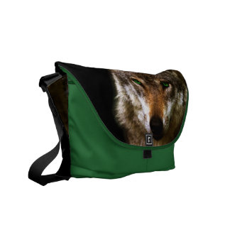 Wolf Profile with green eyes ~ editable background Commuter Bag