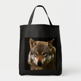 Wolf Profile with green eyes ~ editable background Grocery Tote Bag