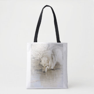 Wolf Prowling In Lake Tote Bag
