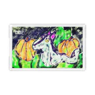 wolf pumpkins art acrylic tray