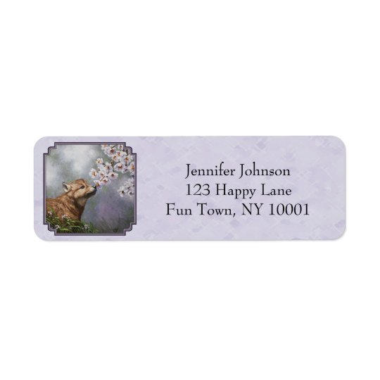 Wolf Pup and Flowers Lavender Return Address Label