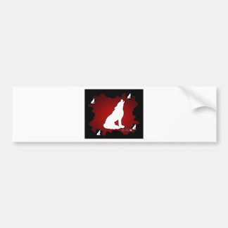 WOLF RED BACKGROUND PRODUCTS BUMPER STICKER