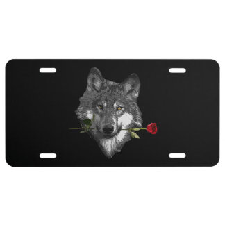 Wolf Rose License Plate
