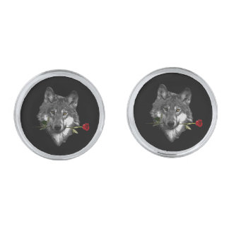 Wolf Rose Silver Finish Cuff Links