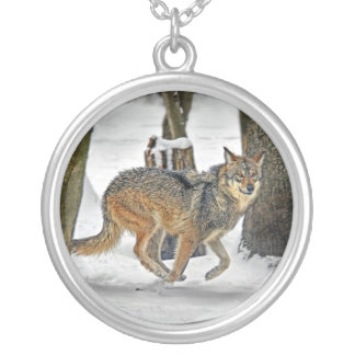 Wolf Run in Snow Necklace