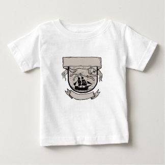 Wolf Running Over Pirate Ship Crest Scratchboard Baby T-Shirt